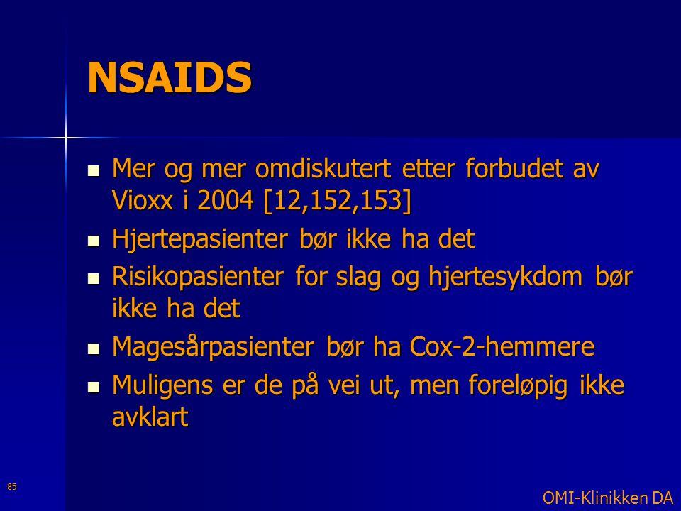 NSAIDS Mer og mer omdiskutert etter forbudet av Vioxx i 2004 [12,152,153] Hjertepasienter bør ikke ha det.